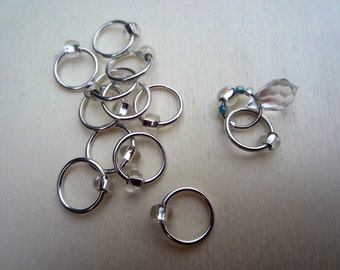 12 Ring Stitch Markers with Silver Beads and Crystal Pendant / Snagless Metal / Knitting / Crochet