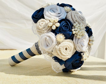 Burlap Bouquet,Navy Blue Brooch Bouquet,Brooch Bouquet with Burlap and Satin Roses,Bouquet with Navy Blue and Ivory Fabric Flowers.