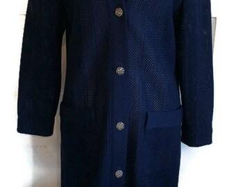 Tannel Trevira Era Buttoned Sweater Knit Dress Jacket Navy Blue Vintage 1960's Long Sheer