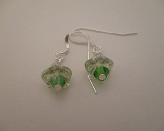 Flower Earrings, Green Earrings, Swarovski Crystal Earrings
