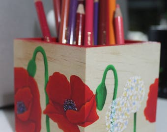 "Pencils ""poppies and dandelions"" pot - My Little Painted Boxes"