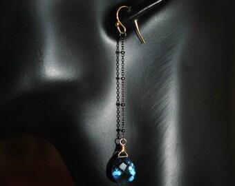 Gemstone Earrings Blue Quartz Earrings 14K Gold Filled Earrings, Crystal Jewelry Modern Earrings, Dangle Earrings, Unique Earrings For Women