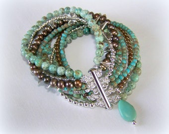 MULTI STRAND BRACELET ... turquoise and brown