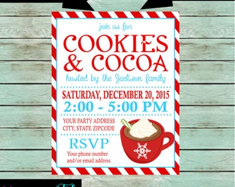 "Holiday Christmas Birthday ""Cookies & Cocoa"" Party Invitations Invites ~ We Print and Mail to You"