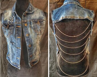 Denim, Bleached, Distressed, Chain, Vest
