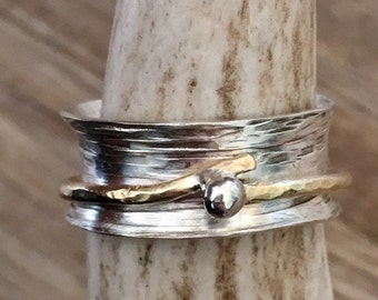 Sterling Silver and Brass Birch Tree and Twig Spinner ring.