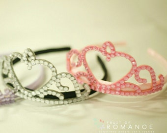 Baby Girl Rhinestone Crown princess pink white Headband
