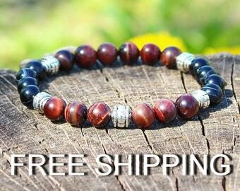 Red Tiger Eye and Black Agate Bracelet, mens casual stone bracelet, stretch bracelet, mens jewelry, gemstone bracelet
