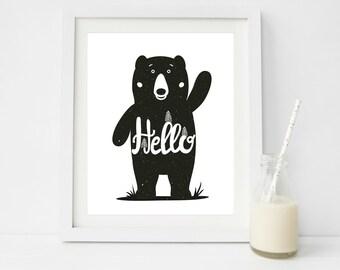 Bear Nursery Art, Monochrome Nursery Decor, Rustic Nursery Wall Art, Nursery Printables, Scandinavian Nursery Decor, Scandi nursery