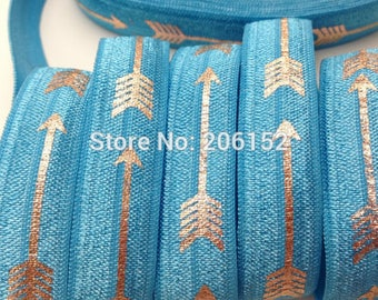 Blue with Gold Foil Arrows Geometric Design FOE Fold Over Elastic 5/8th Inch 16mm - per Yard