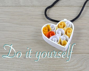 Heart shape pendant in white paper DIY kit. Kit for quilling for beginner, child or adult, creative kit rolled, color choice.