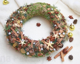 SALE!Last price!Rustic Christmas Wreath for front door.Natural wreath.Christmas Natural wreath.Christmas Gift. decoration.Natural decoration