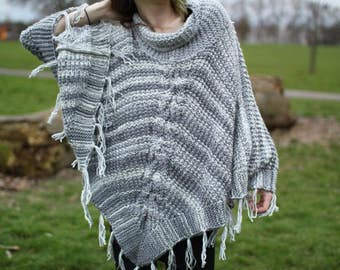 Hand Knitted Women's Poncho in Grey Scale Finished with Tassels