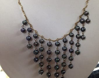 Fresh Water Pearls Necklace, Drop Down Pearl Necklace, Peals and Gold Necklace