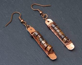 bronzite earrings, bronzite jewelry, bronzite, hammered bronzite, copper bronzite, bronzite copper, hammered earrings, copper earrings