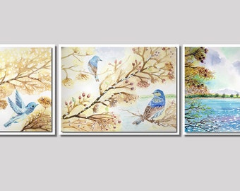 Watercolor images of autumn, winter, summer