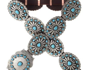 Turquoise Silver Concho Belt Navajo Jewelry Old Pawn Style