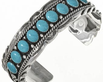 Navajo Genuine Turquoise Row Bracelet Sterling Southwest Cuff Native American Jewelry