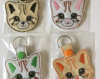 Hand Made Machine Embroidered Cat Key-ring