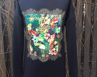 Pullover MONET, pullover with imitation Monet paintings, Pullover with flowers, Long pullover, Loose fit dress, Alternative Apparel