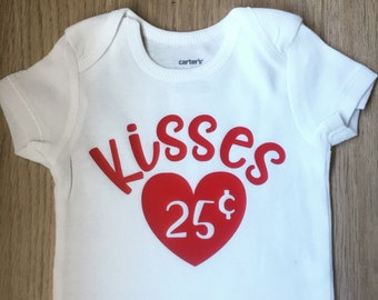 My First Valentine outfit / baby girl clothes / baby girl valentine outfit / kisses 25 cents /Valentines Day bodysuit