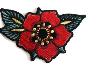 Flower Embroidered Patch, size 3.5 x 2.5