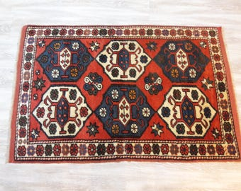 "Turkish handmade Rug2'88""×4'16""feet,88x127cm, Turkish Anatolian Vintage Rug"