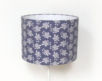 Round Lampshade printed white flowers on Navy background