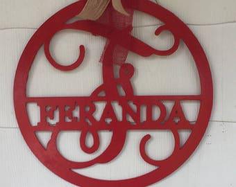 Monogram with family name, Wooden Monogram, wooden letters, wooden initials, Monogram wall decor, monogram door hanger, monogram gift