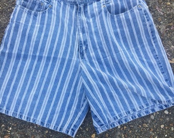 Cenza Blue and White Striped Shorts