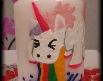 Pillar candle Unicorn motif candle