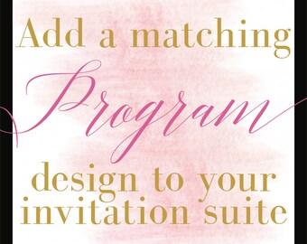 Add a Design/Programs/Coordinating Design/DIY Printing/Budget Conscious Brides
