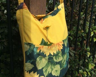 Sunflower Market Bag Book Bag with Pockets