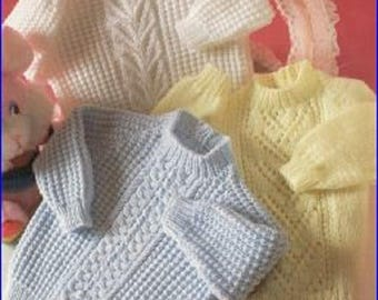 Baby Knitting Pattern - Vintage Pattern - Baby jumpers  Knitting Pattern - Vintage Knitting Pattern - Vintage Jumpers 16 - 22 inch CA17