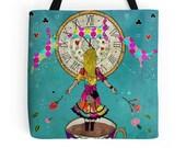 Alice's Dream - Tote Bag, Alice in Wonderland inspired, Alice Tote Bag,  Shopping Bag, Girls Bag, Fairytale Bag, Gift for Her, Whimsical Bag