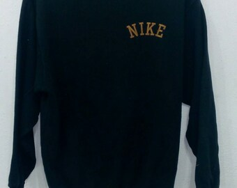 Rare!! vintage Nike spell out small logo sweatshirts black colour L size