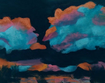 Original pastel painting abstract clouds