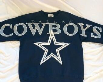 Vintage Dallas Cowboys Print All Over Crew