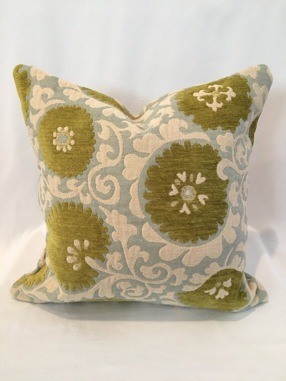 """16"""" Suzani in Aqua and Citron by Thibaut"""