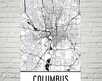 Columbus Ohio Map Art Print, Columbus Map Art Poster, Columbus Wall Art, Map of Columbus OH, Print, OSU Gift, Birthday, Decor, Modern, Art