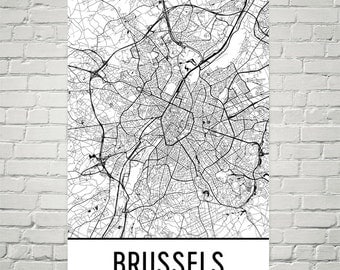 Brussels Map, Brussels Art, Brussels Print, Brussels Belgium Poster, Brussels Wall Art, Brussels Gift, Map of Brussels, Brussels Decor, Art