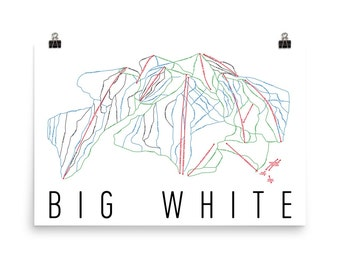 Big White Ski Map Art, Big White British Columbia, Big White Trail Map, Ski House, Ski House Decor, Ski Chair, Ski Lift, Ski Lodge Decor