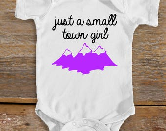 Small Town Girl Baby Bodysuit   Rock n Roll Baby   Journey Baby   Cute Baby Shower Gift   Baby Girl   Mountain Baby