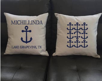 Anchor Personalized Throw Pillow, Pillow Set, Nautical Print, Boating Gift, Anchor Decor, Boat and Yacht Decor, Custom Pillow Cover