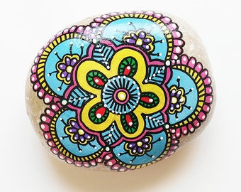Hand Painted Stone Flower