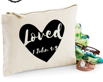 Loved - Bible verse Makeup bag/purse/zipper pouch