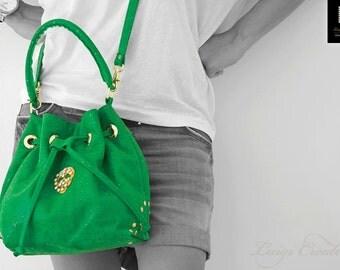 Duffle back, Cross body handbag, Handmade handbag, Party Handbag, Skull Handbag, Leather handbag, Green, Colortherapy collection!