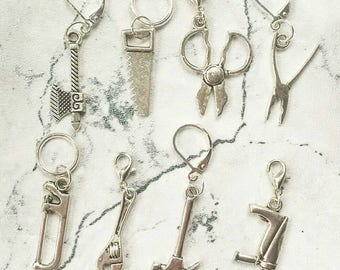 Tool Shed Stitch Markers// Progress Keepers// Knitting Markers