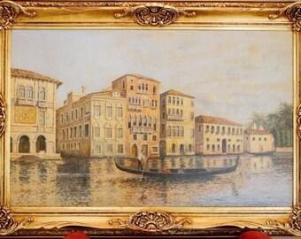 Large Antoine Bouvard Original Venetian Scene Oil Painting