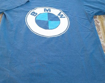 True Vintage 1980s BMW Tee Awesome Softy Classic Logo Scarce Tee Burnout Holey Size Medium